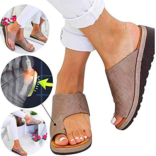 Vrouwen comfortabele dikke zolen sandalen orthopedische schoenen PU leer platte bodem grote teen voet orthopedische sandalen orthopedische hallux teen orthese (42, Bruin)
