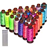 Total 9000yards 30 Rainbow Colors Sewing Thread,Polyester Sewing Thread with 6 Needles for Manual Embroidery or Sewing Machine Sewing ,Handwork