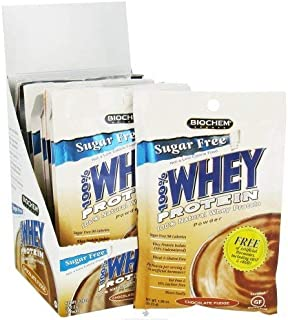 Biochem Whey Protein Powder Mix, Chocolate Fudge (Supports Healthy Metabolism) High Protein Supplement Drink Mix, 10-Count, 1.1-Ounce Single Serving Packs