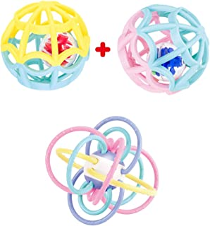 Baby Play Ball and Sensory Teether. Two Outer Plus 2 Inner Balls. Rattles and Rolls for Double The Fun. Ages 0 Month to 4 ...