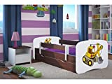 Kocot Kids Kinderbett Jugendbett 70x140 80x160 80x180 Wenge mit Rausfallschutz Matratze Schublade und Lattenrost Kinderbetten für Mädchen und Junge Bagger 160 cm