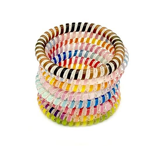 xiucai Línea telefónica horquilla 8 unids/lote tamaño colorido Hairband pelo goma lazo teléfono línea goma goma anillo para las mujeres chica línea teléfono horquilla