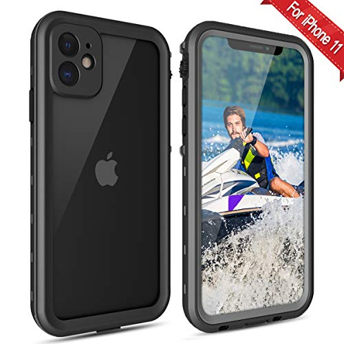 iPhone 11 Waterproof Case【IP68 Certified】 Shockproof Anti-Drop, 360°Full Body Underwater Protecting with Clear Built-in Screen Protector, Clear Sound Cover for iPhone 11 2019 Release (Black)