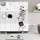 vhg8dweh Duschvorhang Sets mit rutschfesten Teppichen,Cartoon Schwein Schwarz Weiß Schöne Schwein Flügel, Badematte + Duschvorhang mit 12 Haken