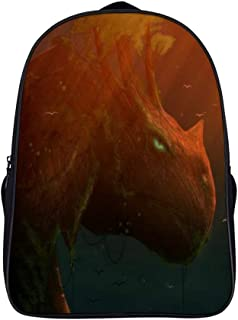 Backpack Handbag Computer package Student shoulder bag (16inch) bag Double Compartment Backpack Orange Organism Underwater Mouth Art Tail Illustration 40x28x16cm