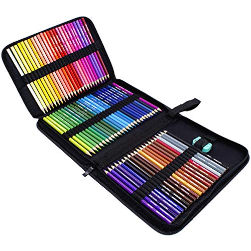 Rock Ninja Colored Pencils Set of 72, Including Coloring Pencils, Travel Case, Pencil Sharpener, A Perfect Gift to Kids, Students, Artist and Painter, Oil Based Color Pencils for Holiday