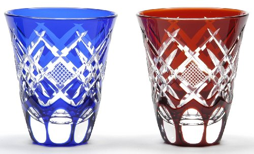 Japanese Edo-Kiriko (Cut Glass) Sake Cups A Pair of Hishi-nanako Pattern