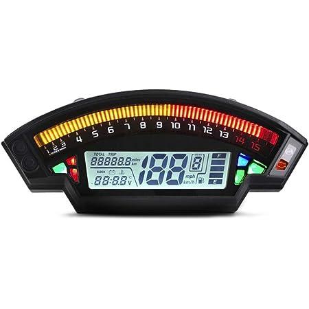 Kkmoon 12v Motorrad Tacho Lcd Digital Display 0 14000 Rpm Drehzahlmesser Hintergrundbeleuchtung Kilometerzähler Tachometer Auto