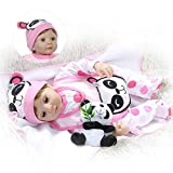 22 Inch 55cm Soft Body Bebe Doll Reborn Baby Soft Silicone Doll Eyes Blink Sweet Panda Girl Birthday Gift