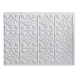 FASÄDE Traditional Style/Pattern 1 Decorative Vinyl Backsplash Panel in Matte White (One 18' x 24' Panel)