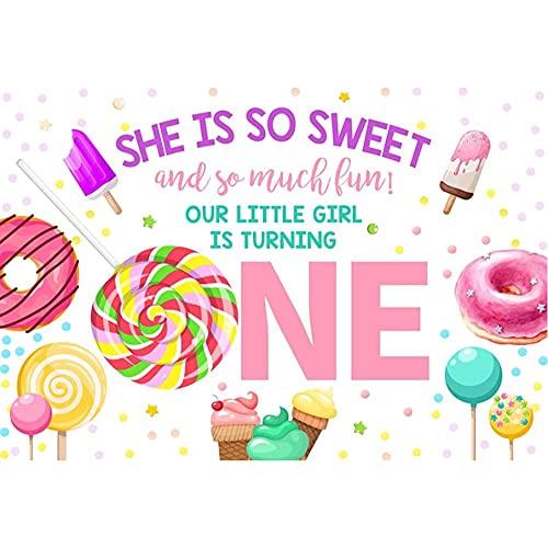Fondo de cumpleaños para fotografía Little Sweet Candy Bar Lollipop recién Nacido Retrato Foto telón de Fondo Estudio Foto zona-250x180cm