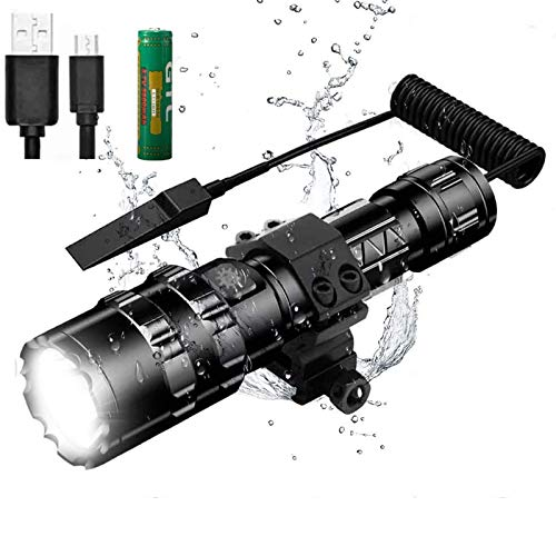 Kit de Linterna LED Alta Potencia Recargable 1600 LM Brillante Antorcha Táctica Linterna de Mano 5 modos 500 metros Impermeable con cargador USB y modo SOS (batería incluida)