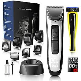 Tondeuse à Cheveux, Tondeuse Cheveux Hommes avec Barbe Rasoir, Sans Fil Tondeuse Barbe Electrique, 7 Sabots, 4 Niveaux…