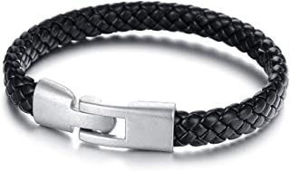Brand Black Genuine Leather Weaved Knitted Women Men Bracelets & Bangles Retro Alloy Wristband Unisex Jewelry Accessory