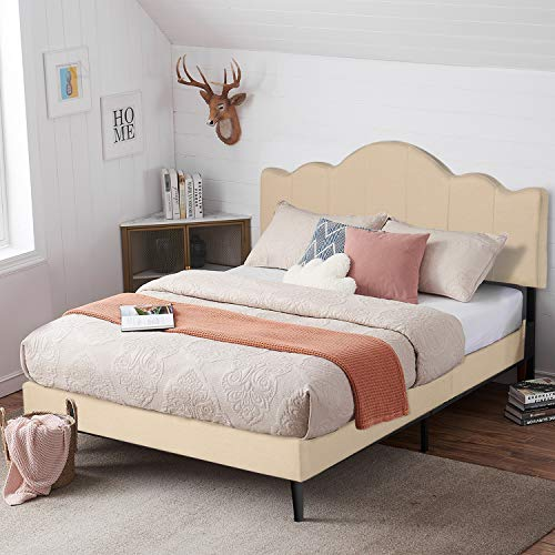 VECELO Queen Upholstered Platform Bed Frame with Height Adjustable Headboard, Mattress Foundation with Strong Wood Slat Support, No Box Spring Needed