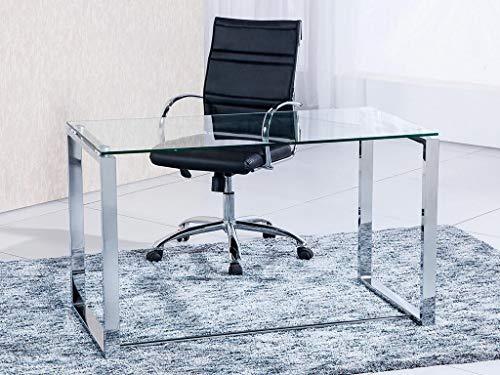 Adec - Mesa de estudio Benetto, mesa de despacho, cristal transparente y patas metal cromado, medidas: 100x72x50 cm fondo
