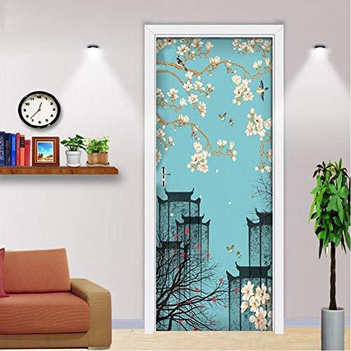 JHYT Selbstklebender 3D-Aufkleber Im Chinesischen Stil Vintage Plum Blossom Building Picture Home Decoration Wasserdichter Druck Artwork Türaufkleber