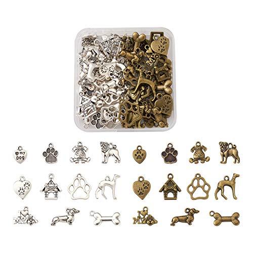 Craftdady 88 colgantes de aleación tibetana para perros y mascotas, varios colores, con estampado...