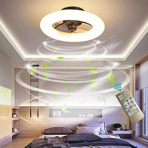 Dagea Moderno LED Iluminación de Techo con Ventilador, 48W Regulable Techo Ventilador Lámpara con Mando a Distancia Velocidad del Viento Ajustable Ventilador para Sala Comedor Habitación Ø50CM,Negro
