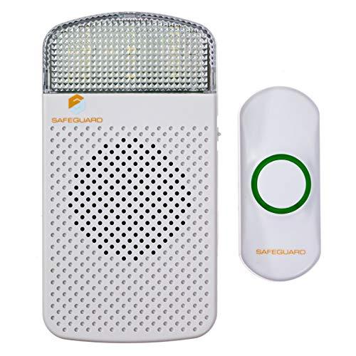 Safeguard Supply Wireless Doorbell Kit- 1000' Range Plug In Doorbell Ideal As Hearing Impaired Doorbell & Deaf Doorbell - Available 95dB Volume Setting & Attention Grabbing Flashing Doorbell Strobe