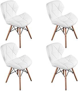 WV LeisureMaster Juego de 4 sillas inspiradas en Cecilia Millmead Silla de Comedor Blanca de Estilo Retro Silla de Comedor...