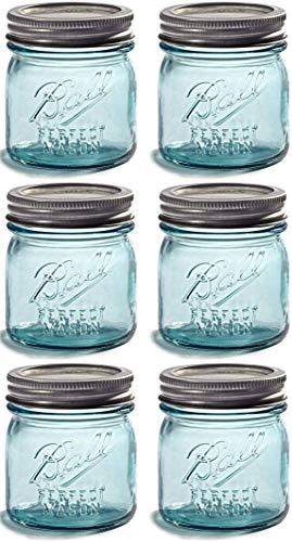 NEW! TWO Limited Collector's Edition - Half-Pint 8oz. Vintage Aqua/Blue BALL 'Perfect Mason' Jar - 6 Pack