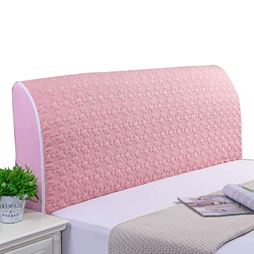 ZWDM Bed Head Protector Cover Solid Color Bedroom DecorationPolyester Fiber Elasticity Bed Headboard Cover (Color : Pink, Size : 1.2x60cm)