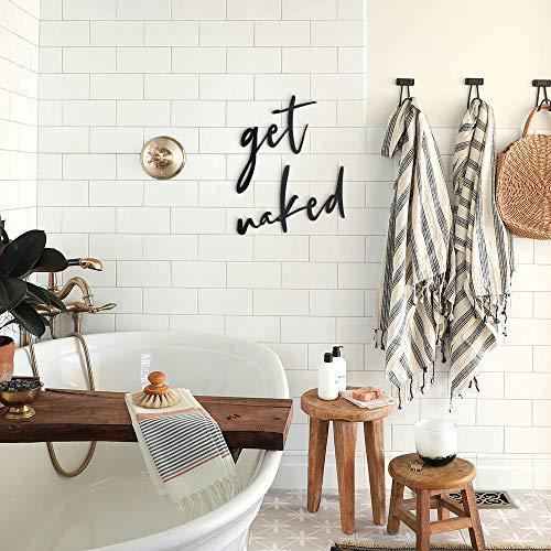 Hoagard Get Naked Metal Wall Art, Schwarz, Metallwandkunst, Wanddekoration Metall Wanddeko für minimalistische und Moderne Badezimmer