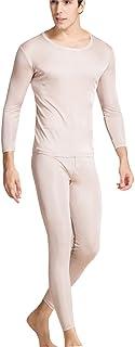 METWAY Men's Thermal Underwear Set Mulberry Silk Stretch 2pc Long John Underwear