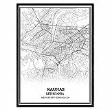 Kaunas Lithuania Map Wall Art Canvas Print Poster Artwork Unframed Modern Black and White Map Souvenir Gift Home Decor