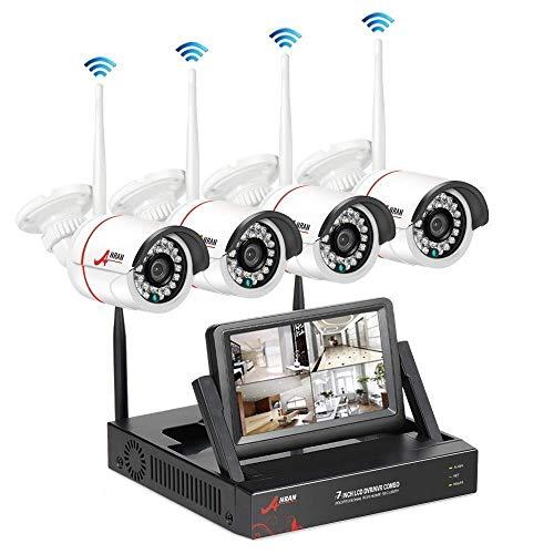 ANRAN WLAN Überwachungskamera Set Kabellose Überwachungssystem mit 4CH 2MP NVR Kit 4Stk 1080P Innen Außen Kamera mit 1TB Festplatte Bewegungsmelder Kostenlose App Fernzugriff Plug-and-Play