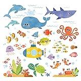 DECOWALL DS-8009 Aventura en el Mar Vinilo Pegatinas Decorativas Adhesiva Pared Dormitorio Salón Guardería Habitación Infantiles Niños Bebés (Pequeña)