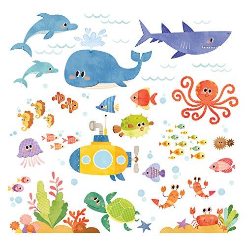 Decowall DS-8009 Abenteuer auf See Meerestiere Tiere Wandtattoo Wandsticker Wandaufkleber Wanddeko für Wohnzimmer Schlafzimmer Kinderzimmer (Englische Ver.) (Klein)