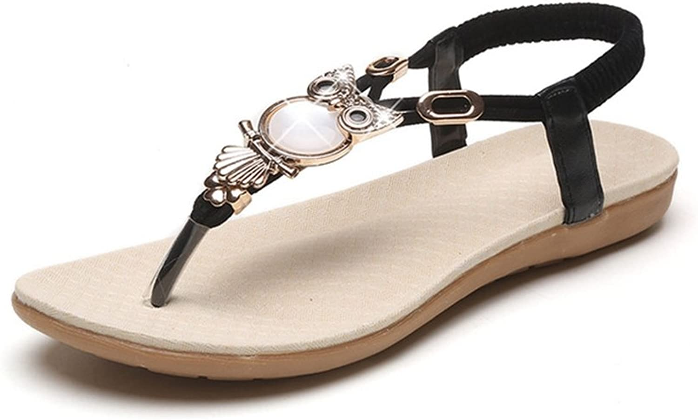 Ladies Women Bohemia Flip Flops Gemstones Antiskid Beach Flat Sandals Vintage Folk Thongs