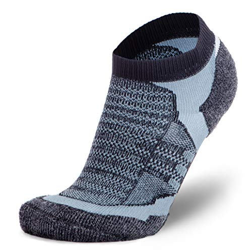 Pure Athlete Merino Wool Socks Men, Women, Youth – Low Cut Cushioned Athletic Running Sock, Moisture Wicking (1 Pair - Black/Grey, Large)
