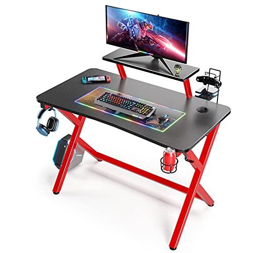 Scrivania Gaming da 110 cm, Scrivania da Gioco Tavolo da gioco a forma di X per PC e Ufficio con Supporto per Controller di Superficie in Fibra di Carbonio e Ganci per Cuffie (Nero)