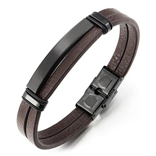 COOLSTEELANDBEYOND Neue Zweireihige Braun Leder Armband Armreif für Herren Damen mit Edelstahl Schwarz Charme Leder Bettelarmband