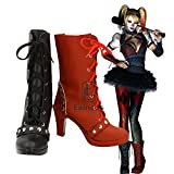 BELUNOT Batman Arkham Knight Harley Quinn Cosplay Party Shoes Women Black and Red Short Fancy Boots Custom Made 41