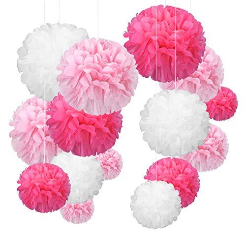 YBwanli Decorazione Festa Tema Rosa,24 Pompon di Carta velina,Fiori di Carta Pompon,Adatto per Feste di Compleanno,Matrimoni,Festa delle Ragazze,Decorazione(Rosa Chiaro,Rosa,Bianco)