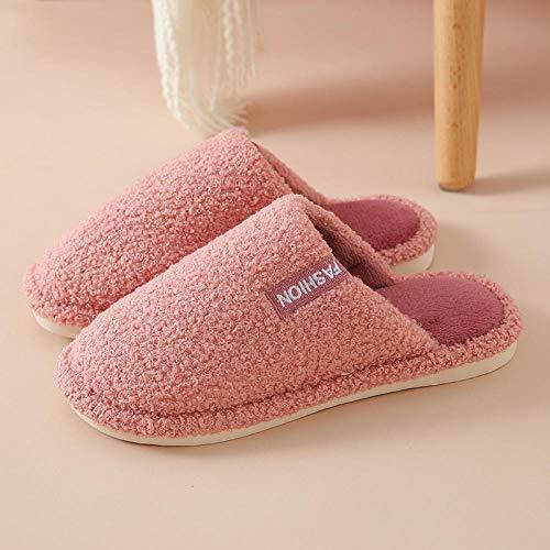 ypyrhh Slippers Confortables Zapatos Interio,Indoor Non-Slip Fur Slippers, Platform Confinement Shoes-Pink_36-37