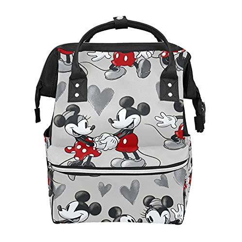 Mochila Bolsa de pañales Mickey Mouse Bolsa de bebé impermeable Mochila de pañales para mamá y papá Mochila ligera de gran capacidad para pañales, mochila de viaje