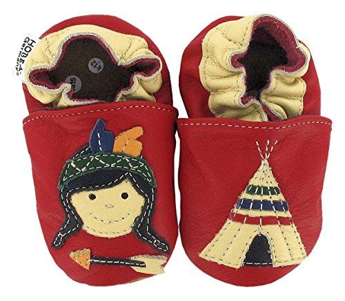 HOBEA-Germany Baby Krabbelschuhe Jungen, Schuhgröße:16/17 (0-6 Monate), Modell Schuhe:Indianer