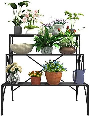 Mecor 3 Tier Metal Plant Stand Large Capacity Indoor Outdoor Flower Pot Holder Stand for Potted product image