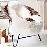 LIYINGKEJI Alfombra de imitación de Piel de Cordero, 60 x 90 cm Alfombra de Piel de Oveja Piel de Oveja Blanca Alfombra de Lana de imitación de Piel de Pelo Largo Alfombra de sofá (Blanco)