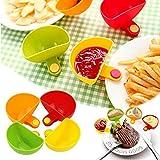 ZURITI Titolare di Immersione, Supporto per Piatto Ciotola con Clip per Immersione, per Chips di Ketchup all'aceto Vegetariano Sale Salsa di Pomodoro, per afferrare Piatti in Colori Assortiti 4Set