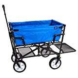 MacSports Double Decker Collapsible Outdoor Utility Wagon | Folding Pull Cart, for Sports Baseball Pool Camping Fishing, Collapsable Fold up Wagon with Wheels, Heavy Duty Steel, Royal Blue
