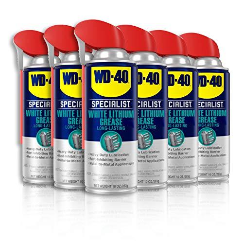 WD-40 - 300240 Specialist White Lithium Grease Spray with SMART STRAW SPRAYS 2 WAYS, 10 OZ [6-Pack]