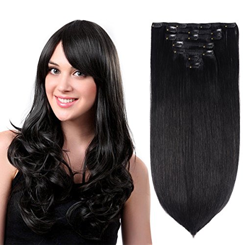15' Clip in Hair Extensions Real Human Hair Off Black(#1B) 7pieces 120grams/4.23oz