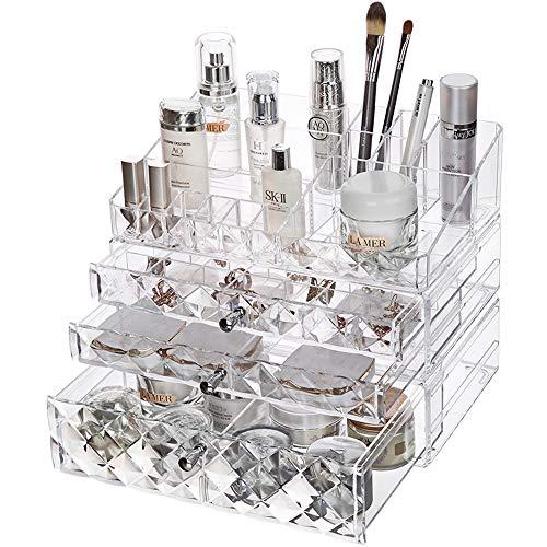 Storage Box Organisateur de Cosmétiques de Bureau, Plateau Cosmétique Acrylique Transparent de Bijoux, Boîte de Rangement pour Produits Cosmétiques Empilable de Grande Capacité