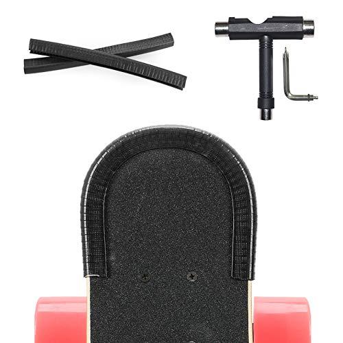 YOUSHARES 2 Pack Skate Deck Protectores de la Nariz y los Guardias de Cola, Longboard eléctrico Borde Protector con Herramientas de Skate, T-Type Skate Tool, (Negro)